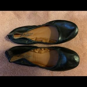 Lucky Brand Black Leather Flats, Size 7.5